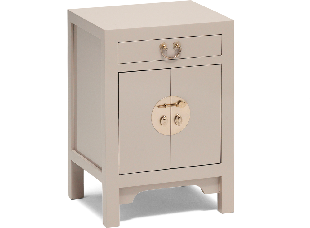 Small Classic Chinese Cabinet Oyster Grey Side Tables