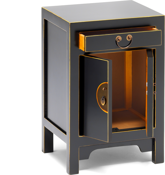 Small Classic Chinese Cabinet Black Side Tables