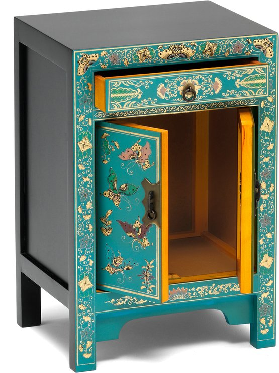 Small Decorated Classic Chinese Cabinet Blue Side Tables