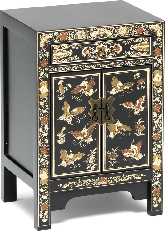 Small Decorated Classic Chinese Cabinet Black Side Tables