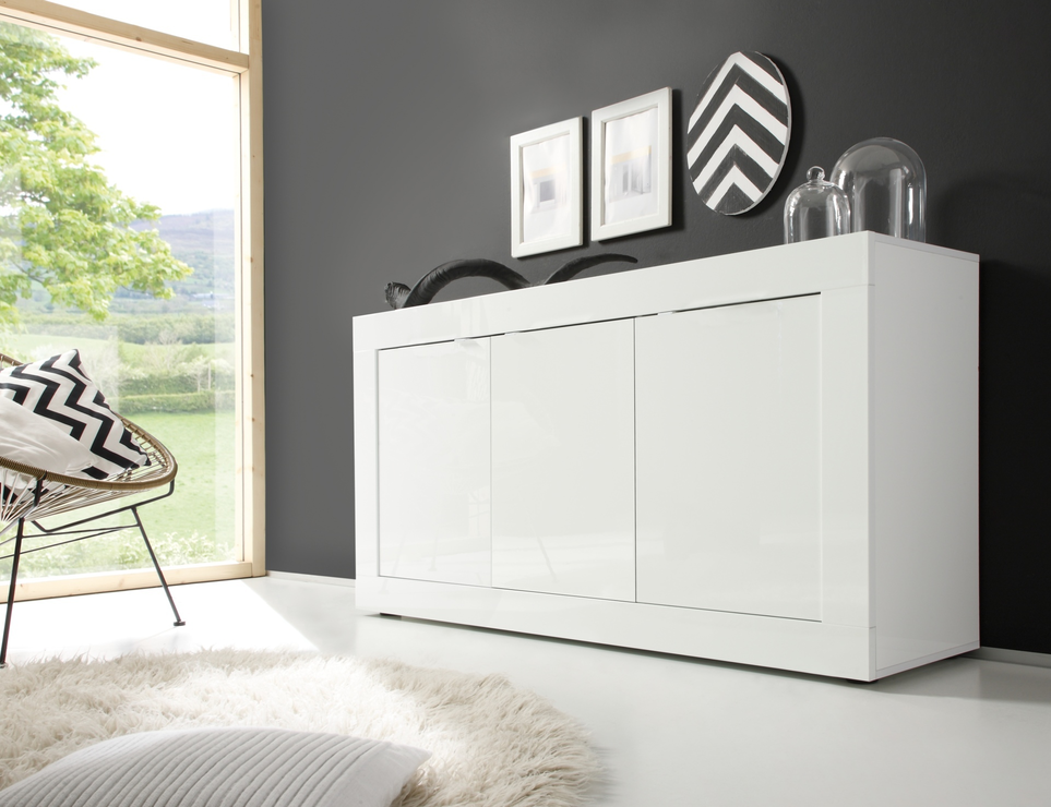 Urbino Collection Sideboard 3 Door Gloss White Lacquer