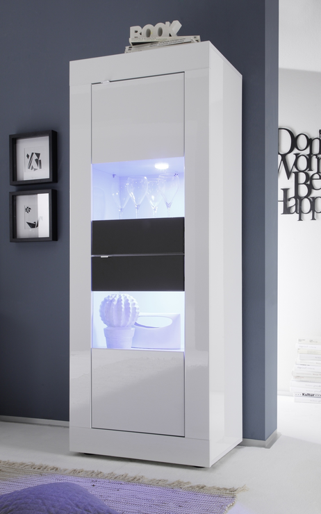 urbino collection two door display vitrine gloss white and anthracite including two led. Black Bedroom Furniture Sets. Home Design Ideas