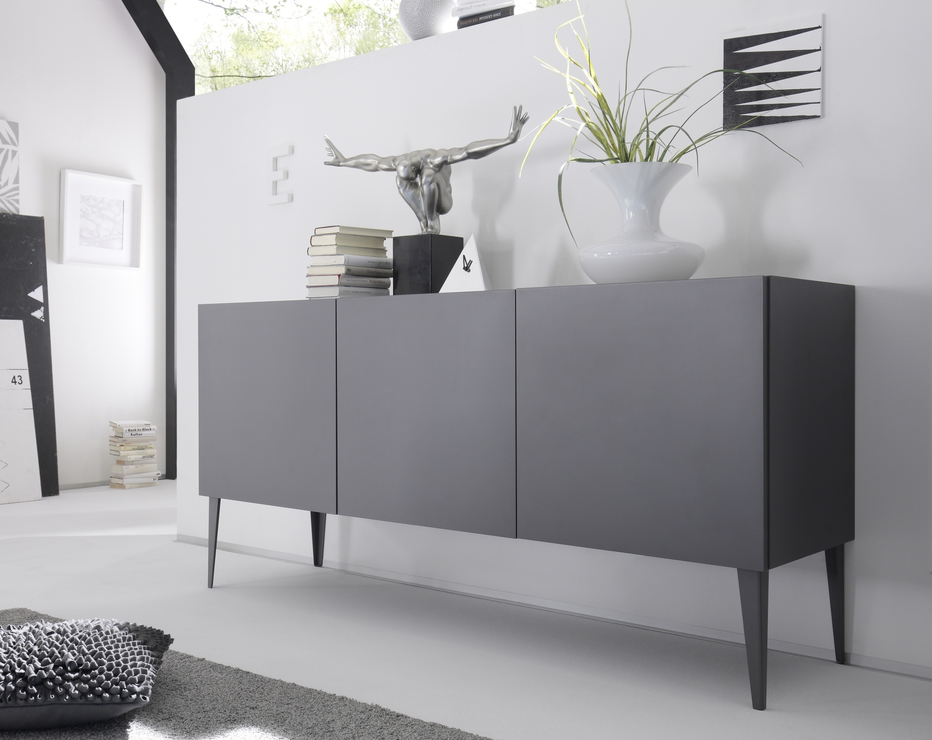 REX Three Door Sideboard - Matt Anthracite Lacquer : Sideboards ...