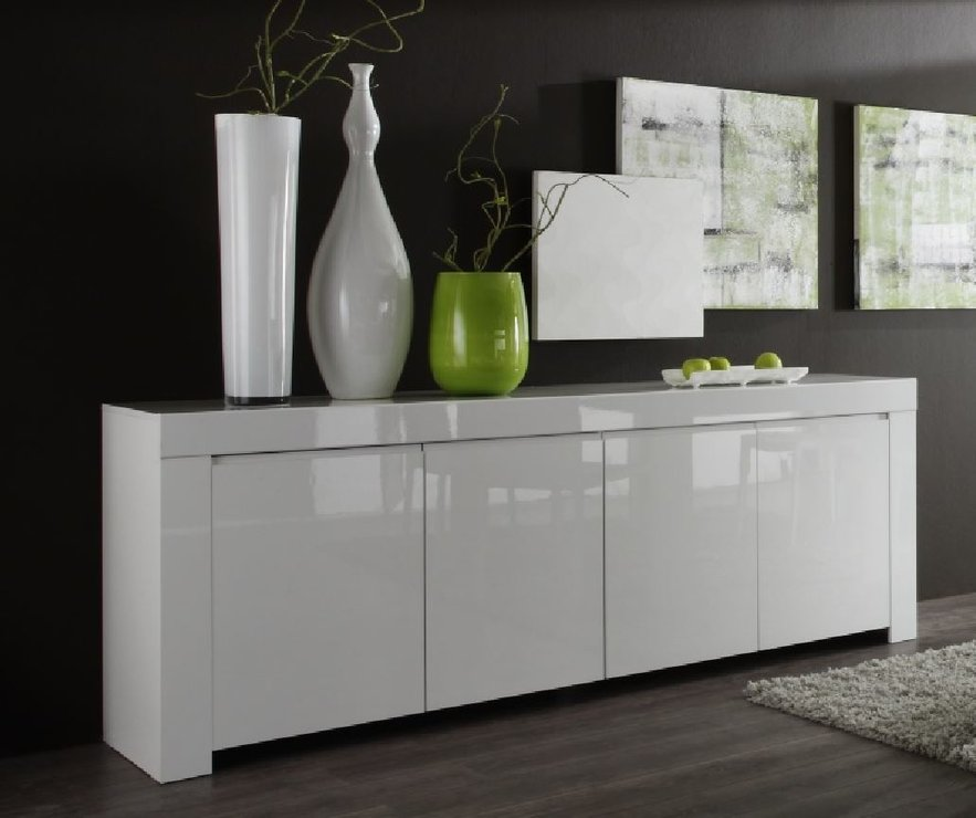 Rimini collection four door sideboard white gloss for Sideboard hochglanz