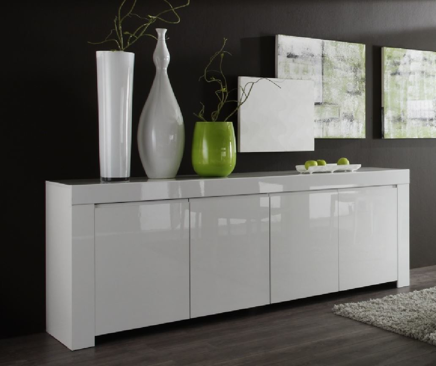 rimini collection four door sideboard white gloss sideboards display cabinets. Black Bedroom Furniture Sets. Home Design Ideas