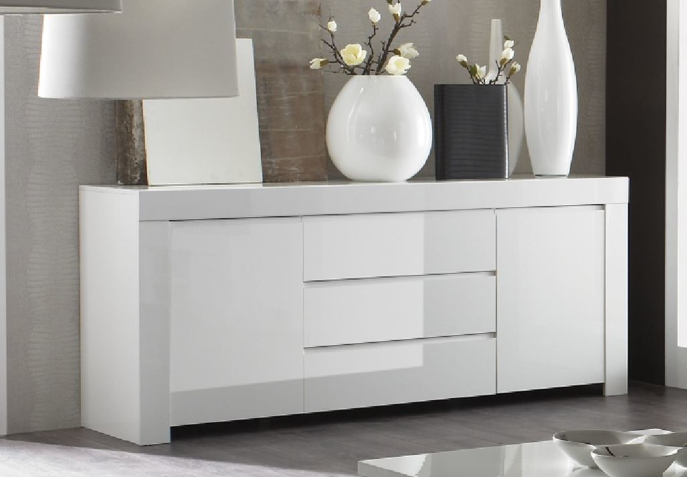 Rimini collection two door three drawer sideboard white for Sideboard hochglanz