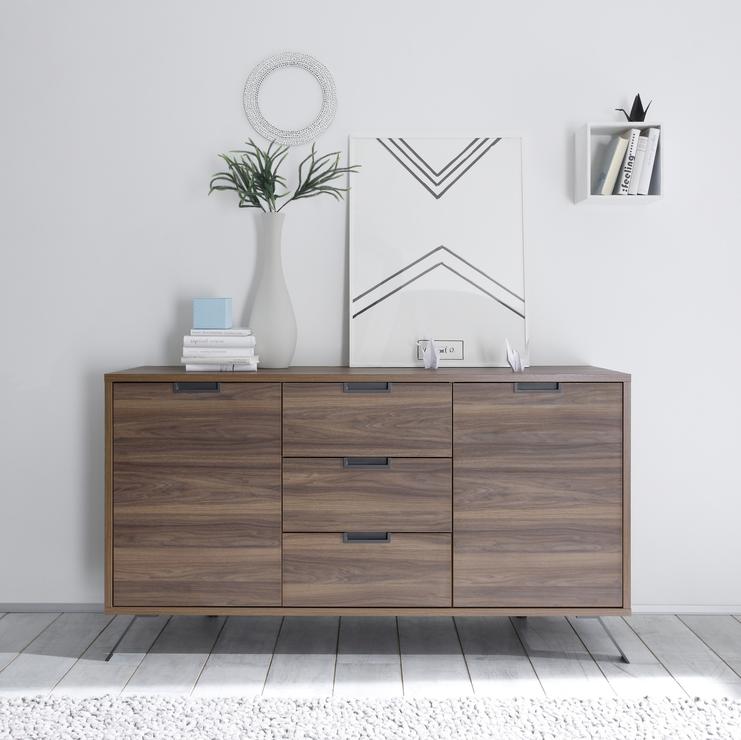 Palma sideboard two doors three drawers walnut for Sideboard holz modern