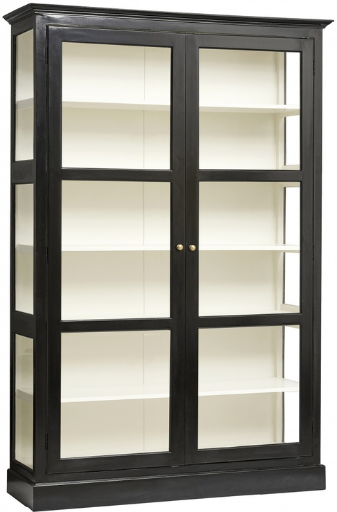 Classic Double Glass Cabinet Black Painted Wood By Nordal