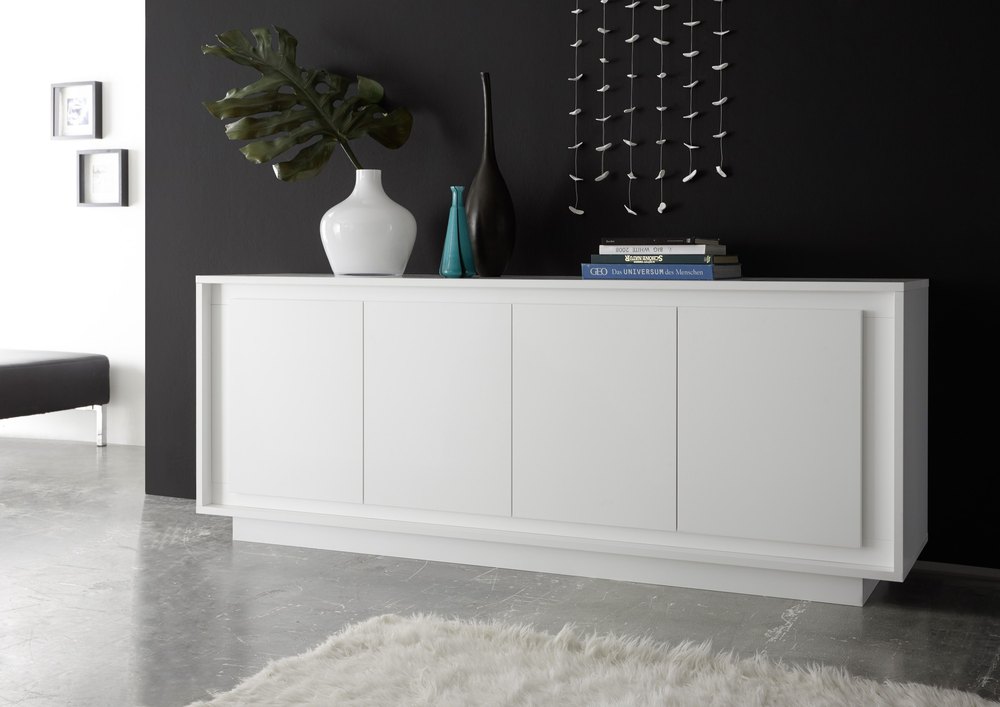Credenza Moderna Bianca : Luna four door sideboard matt white sideboards