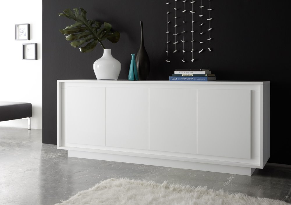 luna four door sideboard matt white sideboards display cabinets. Black Bedroom Furniture Sets. Home Design Ideas