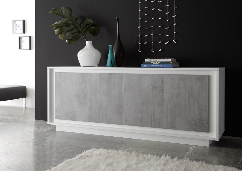 luna four door sideboard matt white grey sideboards. Black Bedroom Furniture Sets. Home Design Ideas