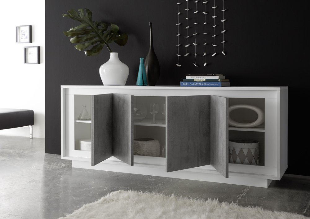 luna four door sideboard matt white grey sideboards display cabinets. Black Bedroom Furniture Sets. Home Design Ideas