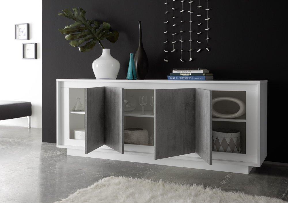 Luna four door sideboard matt white grey sideboards - Table salle a manger beton cire ...
