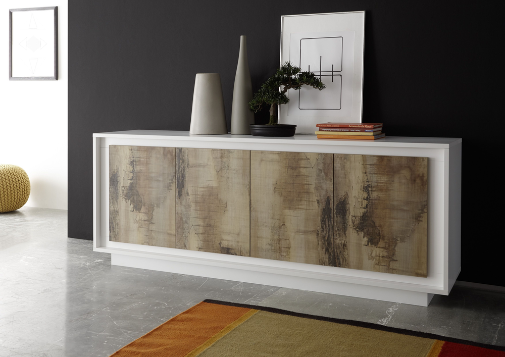 luna four door sideboard matt white natural sideboards. Black Bedroom Furniture Sets. Home Design Ideas