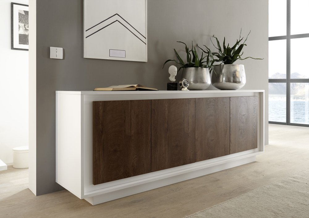 luna four door sideboard matt white cognac sideboards. Black Bedroom Furniture Sets. Home Design Ideas