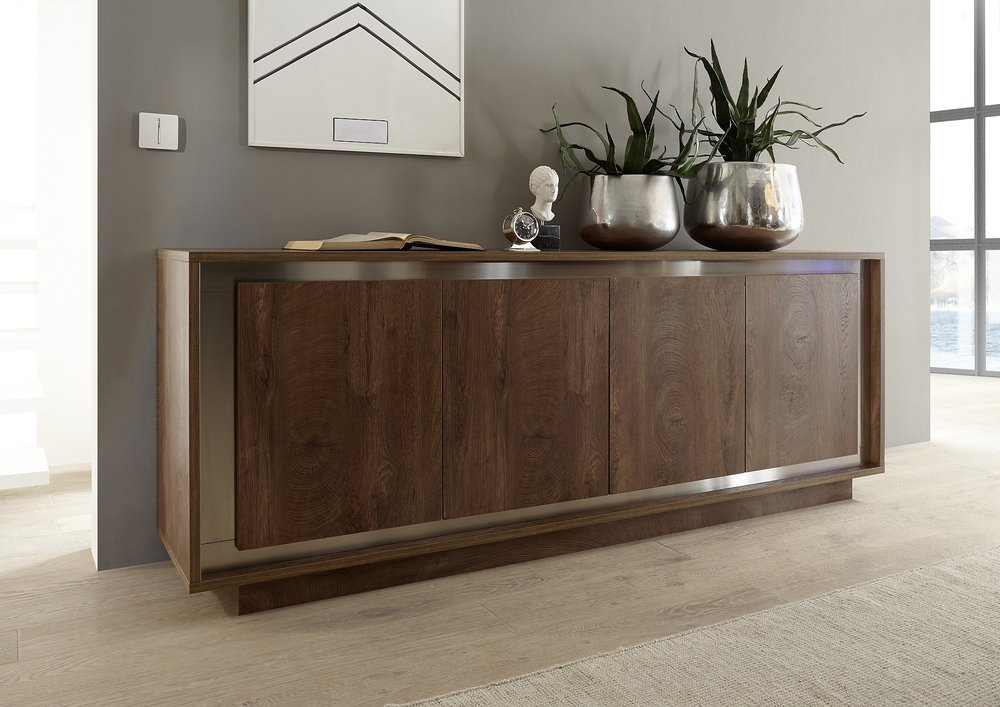 Luna Four Door Sideboard Cognac Finish Sideboards