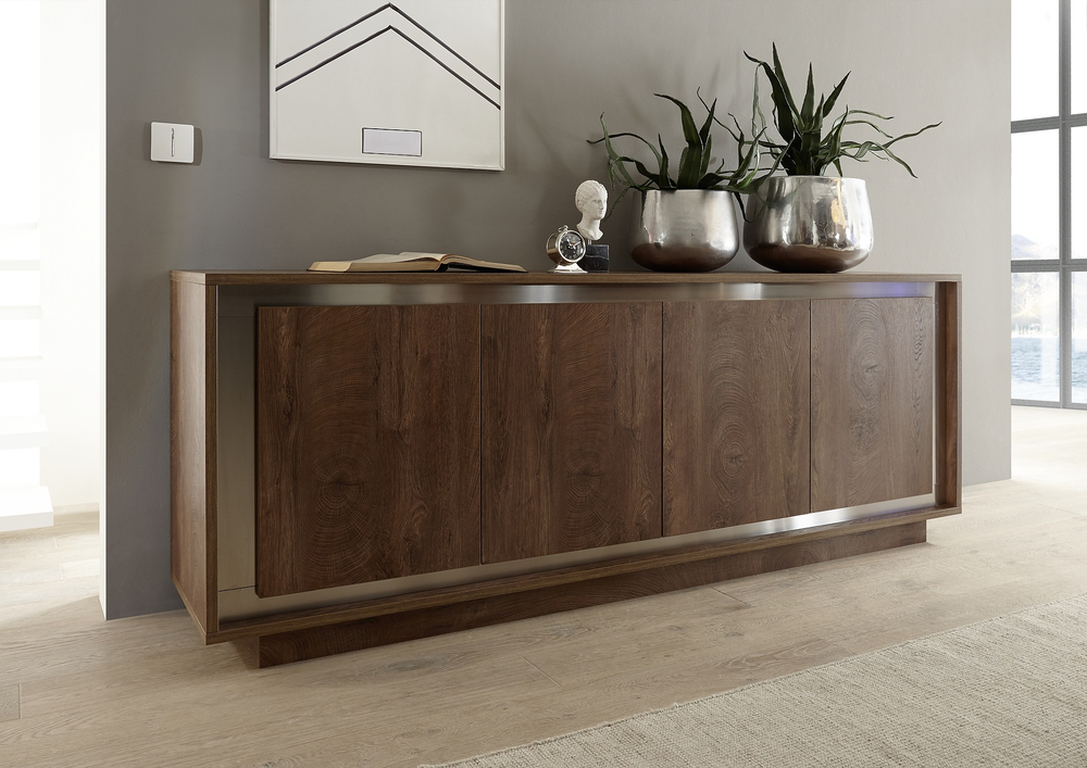 luna four door sideboard cognac finish sideboards display cabinets. Black Bedroom Furniture Sets. Home Design Ideas