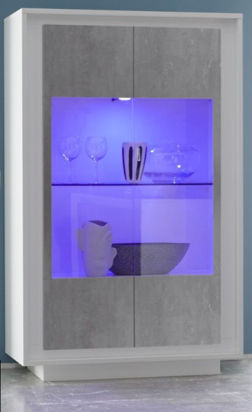 Luna Two Door Display Cabinet Inc. LED Spot Light   Matt White/Grey