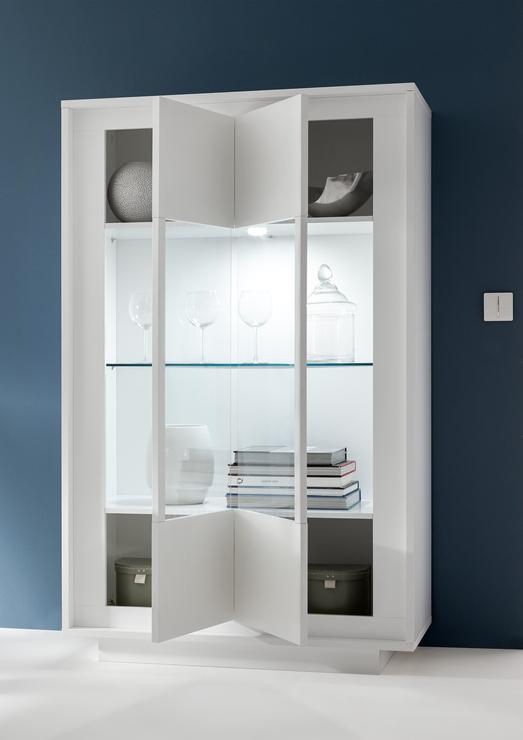 Luna Two Door Display Cabinet Inc Led Spot Light Matt