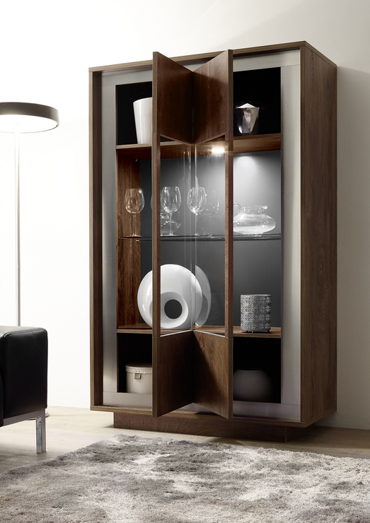 Luna Two Door Display Cabinet Inc Led Spot Light Cognac