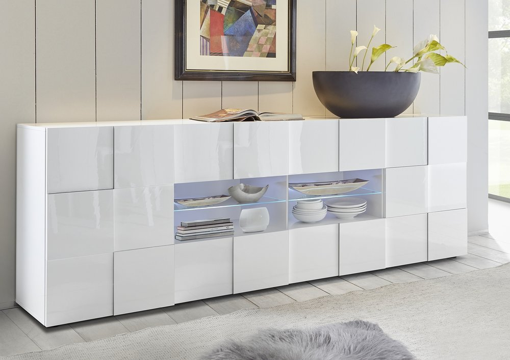 treviso long sideboard two doors four drawers white high gloss sideboards display cabinets. Black Bedroom Furniture Sets. Home Design Ideas