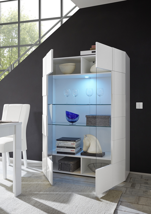 Treviso Two Door Display Cabinet Gloss Grey With Led