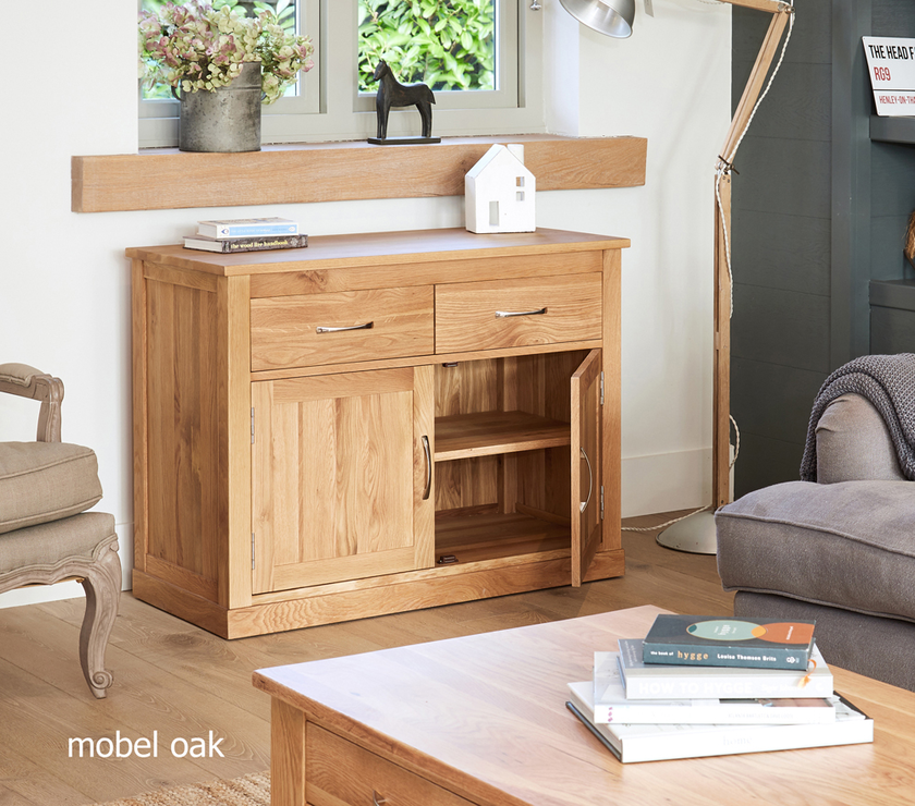 mobel solid oak modern small sideboard 2 drawer 2 door
