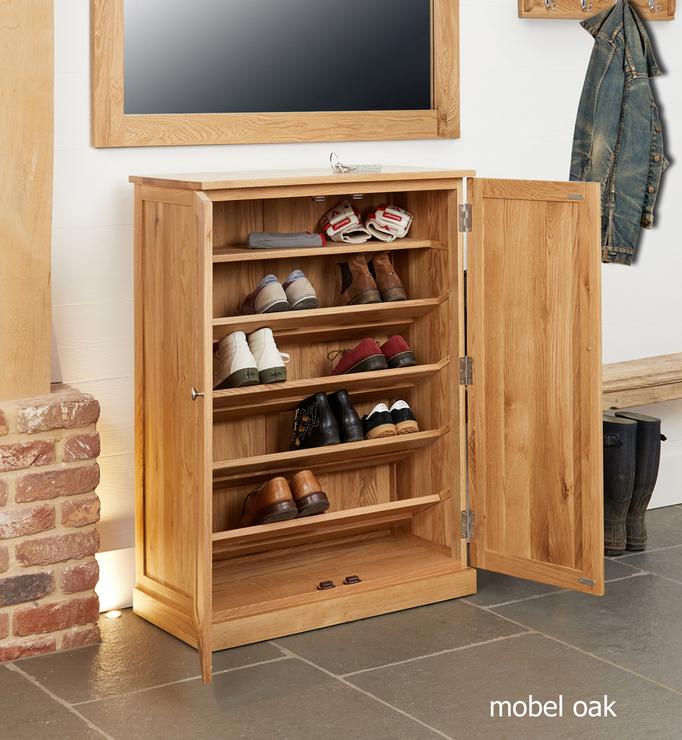 mobel oak large shoe cupboard contemporary
