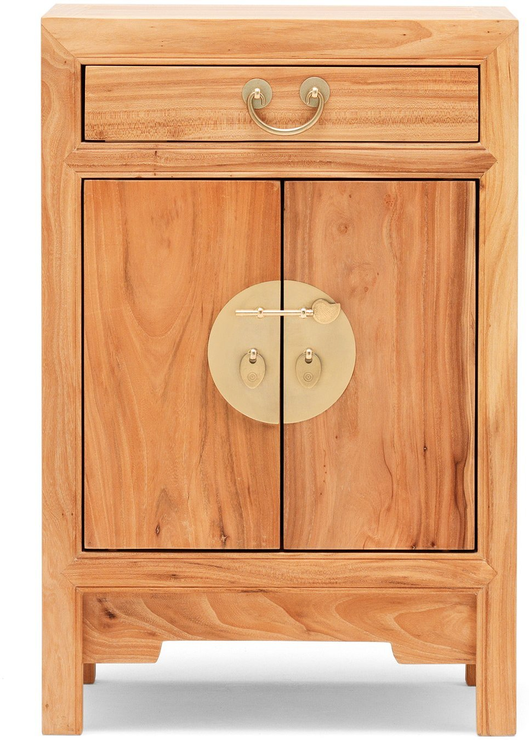 Beau Natural Elm Chinese Small Cabinet 1 Drawer 2 Door Image 3