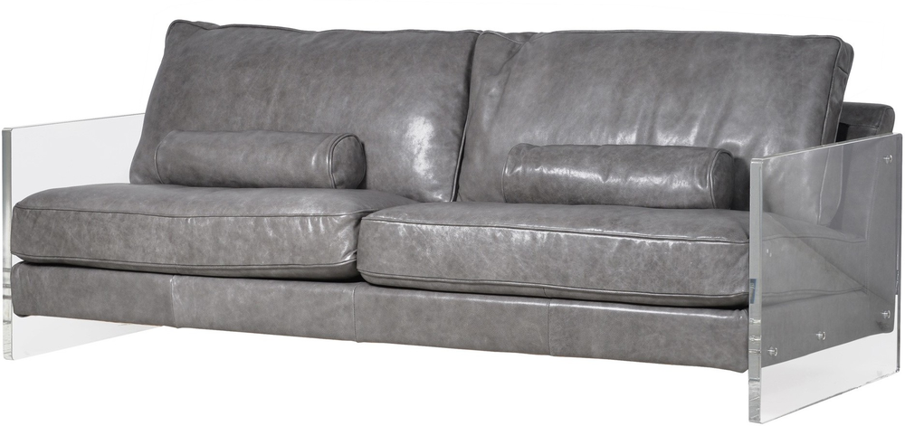 Grey Leather Sofa With Acrylic Sides Sofas