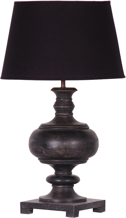 Black Turned Table Lamp Distressed Base