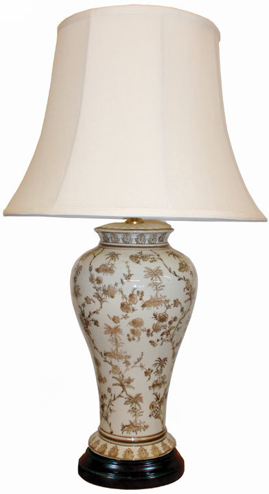 White Amp Brown Ceramic Table Lamp Table And Bedside Lamps