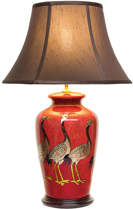 Red Lacquer Table Lamp With Gold Cranes Table And