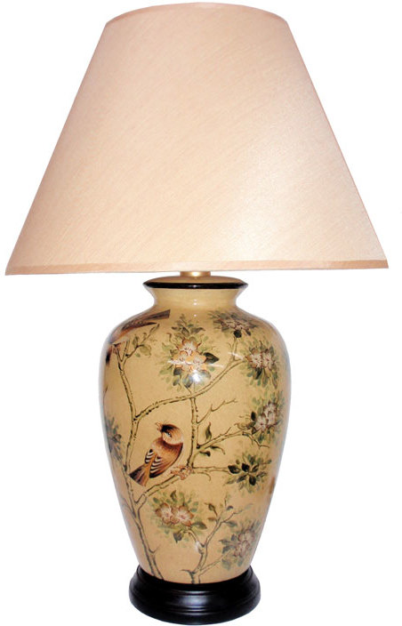 Oriental Table Lamp With Birds And Blossom Table And