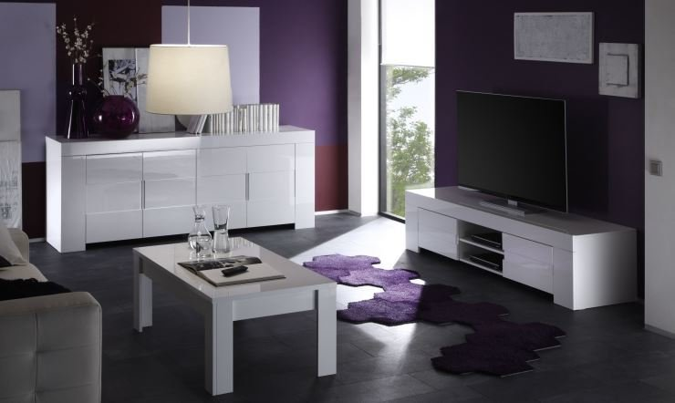 Fano Long TV Unit   Gloss White Finish Image 5