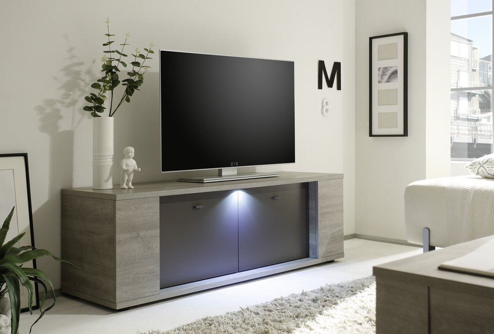 Sidney collection small tv unit with led spot tv media - Meuble tv anthracite ...