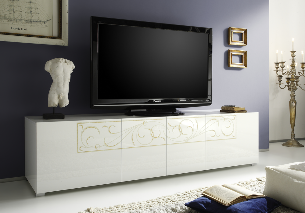 Padua TV Stand White High Gloss Lacquer amp Media Units