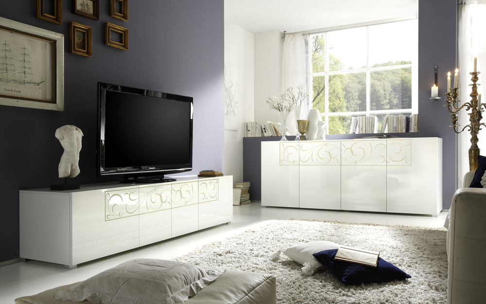 White Tv Media Unit Part - 49: Padua TV Stand - White High Gloss Lacquer Image 2