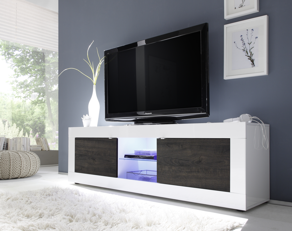 a79826cf389 Urbino Collection Big TV Unit with LED Spotlight - Gloss White   Wenge