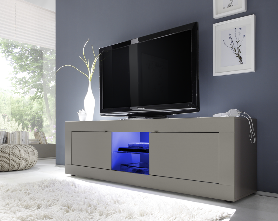 Tv And Media Units Part - 46: Urbino Collection Big TV Unit Including Led Spot Light - Matt Beige
