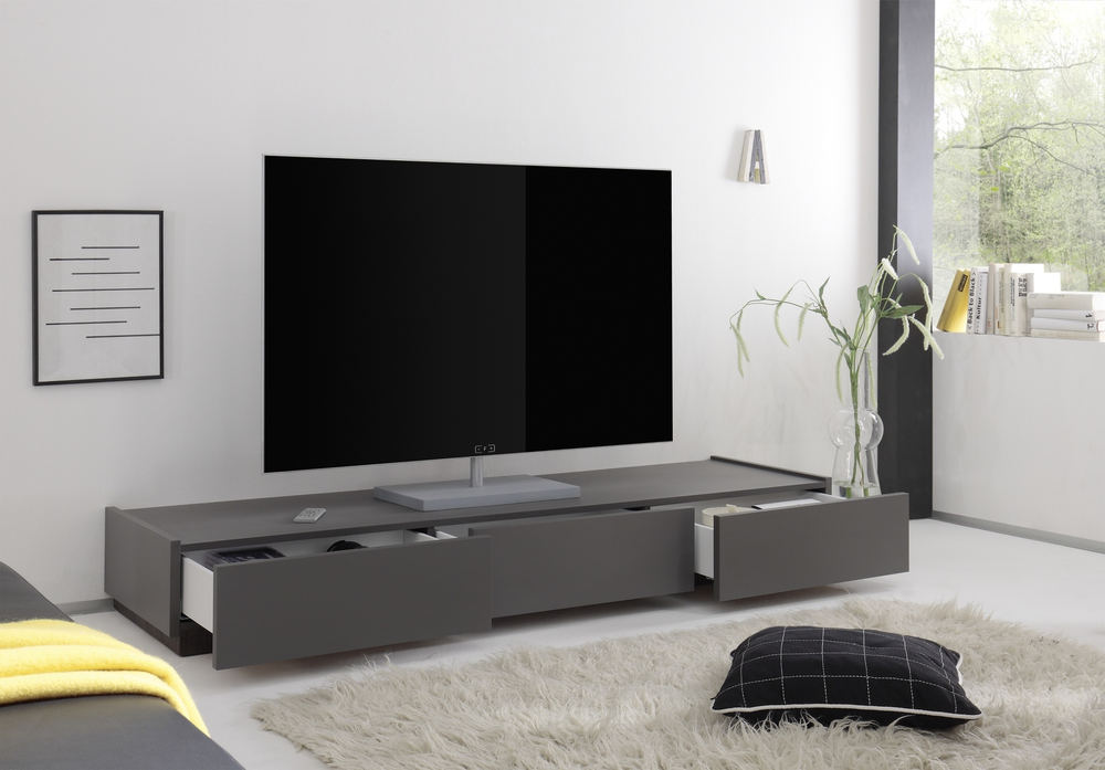 Tv And Media Units Part - 23: REX Low Three Drawer TV Unit - Matt Anthracite/Wenge (TV U0026 Media Unit .