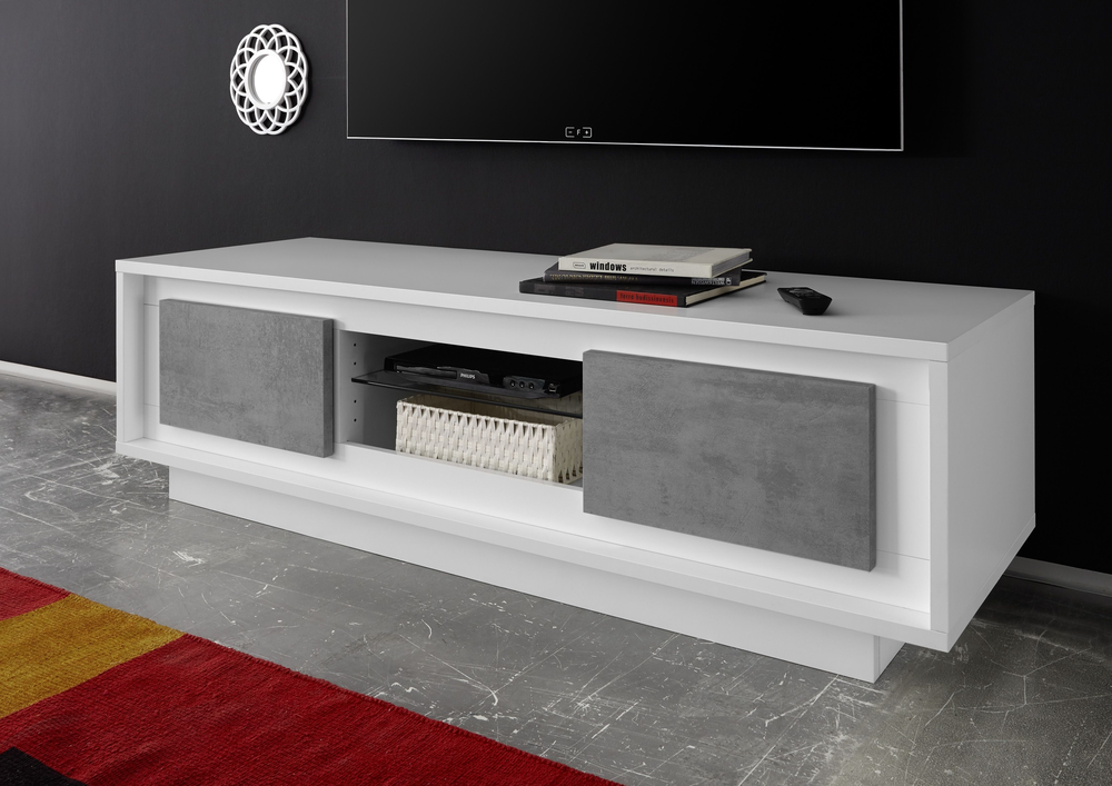Luna two door tv stand matt white grey tv media units for Meuble salle a manger blanc et gris