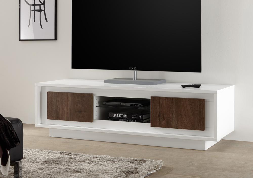 Tv Tables Media Unit: Luna Two Door TV Stand - Matt White/Cognac