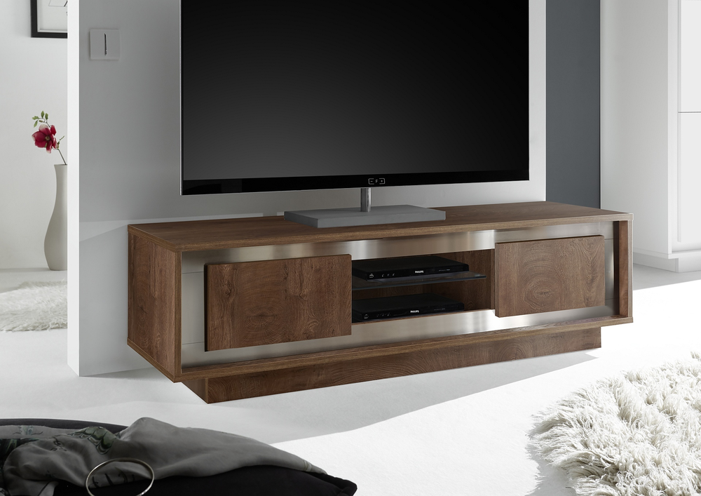 Luna two door tv stand cognac finish tv media units for Mobilier stand