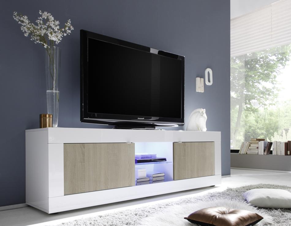 White Oak Tv Unit Part - 27: Urbino Collection Big TV Unit Including Led Spot Light - Gloss White And  Light Oak