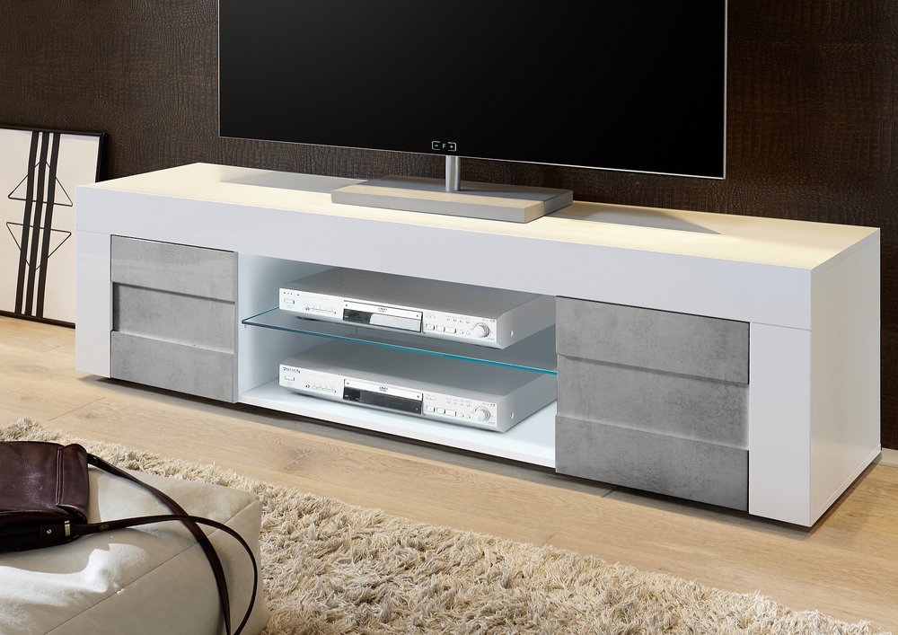 Napoli large tv stand gloss white grey finish tv media for Contemporary tv media units
