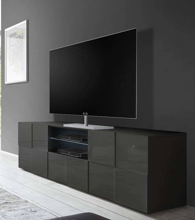 Treviso Large Tv Unit Gloss Grey Tv Media Units