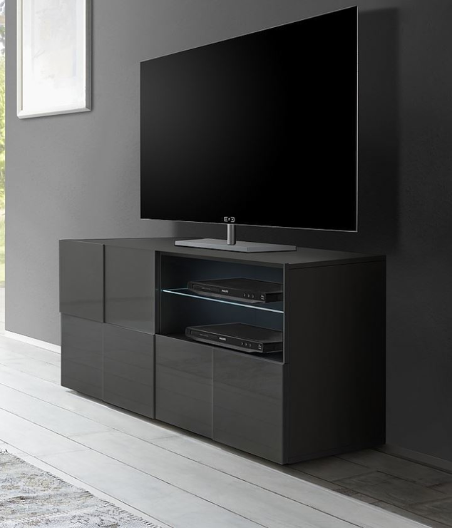 treviso small tv unit gloss grey finish tv media units. Black Bedroom Furniture Sets. Home Design Ideas