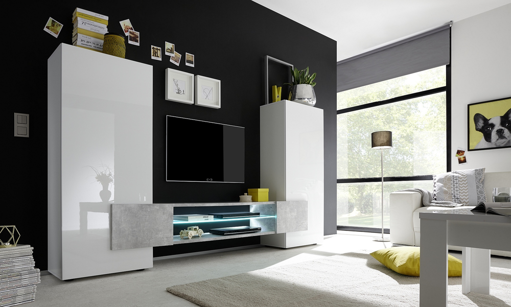 Sorriso High Tv Unit White Gloss With Grey Black Natural