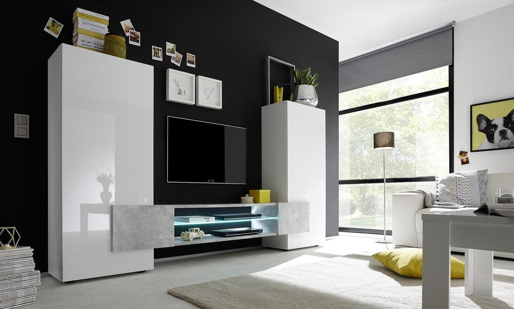 Sorriso high tv unit white gloss with grey black natural for Soggiorno moderno design